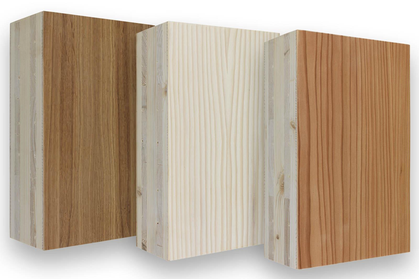 Brettsperrholz mit Exklusivoberflächen in Lärche, Weißtanne und Eiche