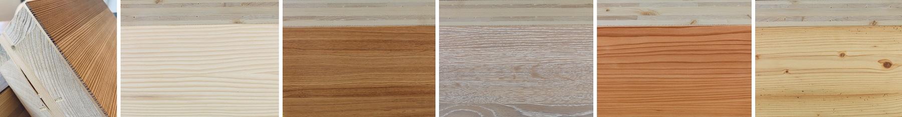 Brettsperrholz mit verschiedenen Exklusivoberflächen