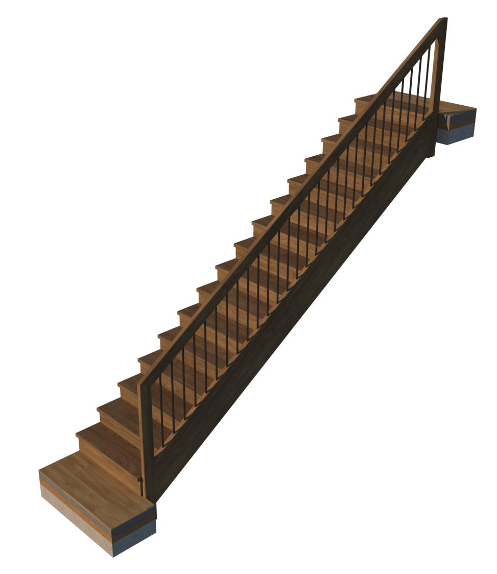Faltwerk-Treppe mit Belag und Geländer