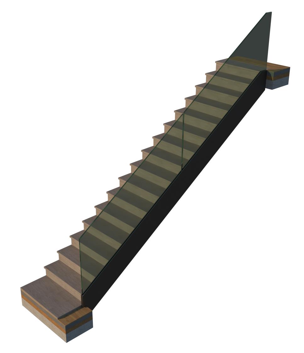 Blockstufen-Treppe mit Glasgeländer