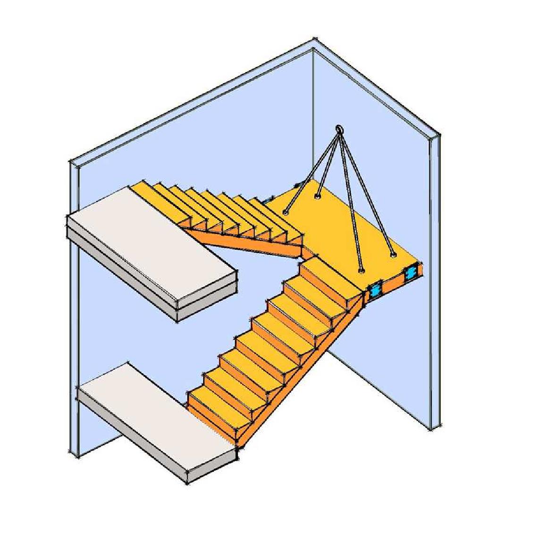 Zweiläufige U-förmige Blockstufen-Treppe aus Brettsperrholz mit Podest