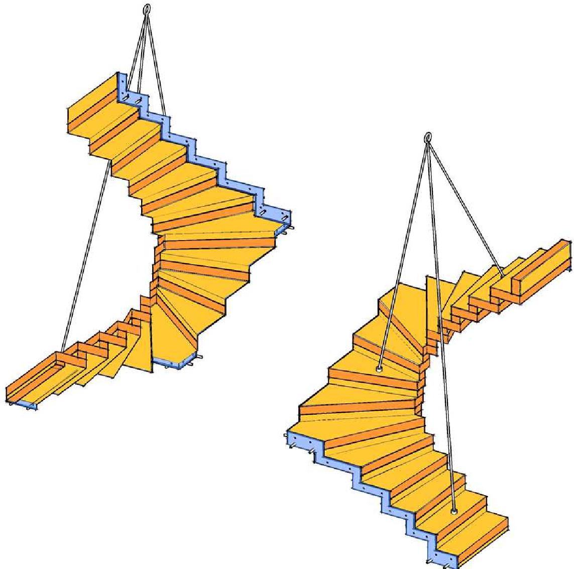 Halb gewendelte Faltwerk-Treppe aus Brettsperrholz