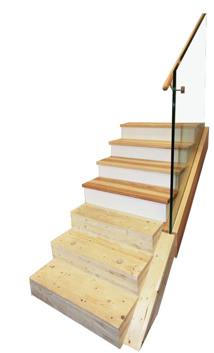 Blockstufentreppe aus Brettsperrholz mit möglicher Ausbauvariante